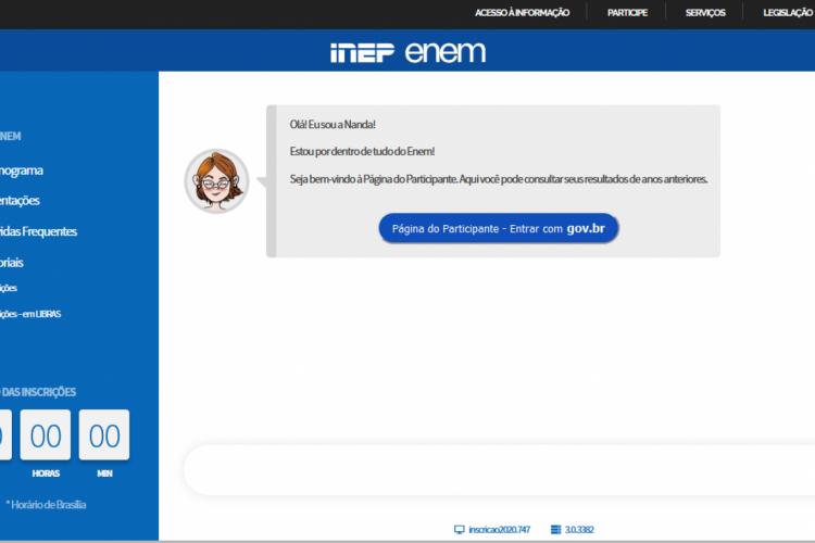 Página do Participante do ENEM 2020 (Foto: Reprodução/INEP)