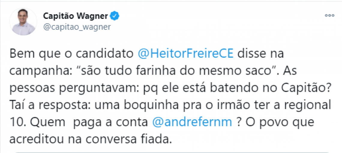 Deputado federal Capitão Wagner (Pros), critica o colega de Câmara Heitor Freire (PSL) pela nomeação do irmão para secretariado da gestão do prefeito Sarto.