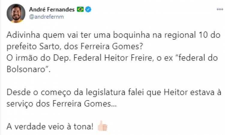 Deputado Estadual André Fernandes (Republicanos) critica escolha de irmão do deputado federal Heitor Freire (PSL) para gestão do prefeito Sarto (PDT)