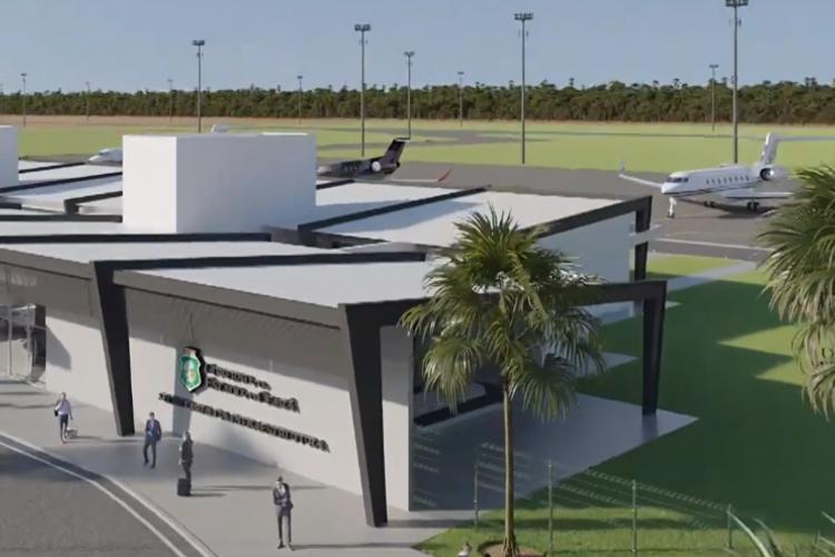 O Aeroporto Regional de Sobral terá capacidade para receber aeronaves de porte médio e irá começar a operar em 2022.  (Foto: Reprodução/ Governo do Ceará)