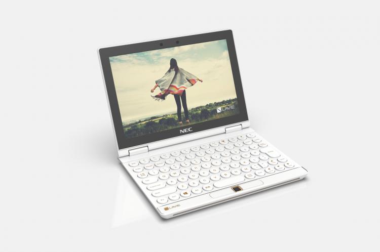 """NEC Lavie Mini é um conceito de notebook """"de bolso"""" apresentado pela Lenovo; a tela pode ser girada e controles acoplados à lateral para transformar o computador em um console portátil"""