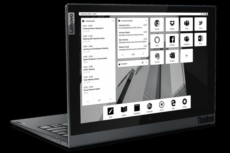 Lenovo ThinkBook Plus Gen 2i, com tela de e-Ink na traseira, foi um dos anúncios de notebooks da CES 2021; marcas como Dell, HP, Acer e Samsung também mostraram novidades no evento (Foto: Divulgação/Lenovo)