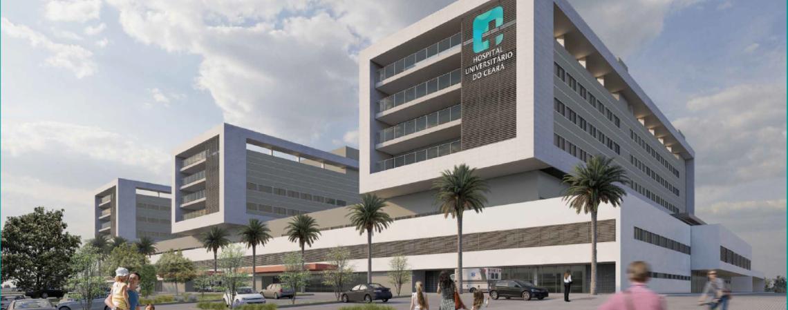 Maquete do Hospital Universitário do Ceará, a ser construído no Campus do Itaperi, na Uece