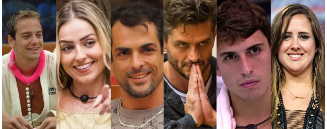 """Alguns dos """"vilões"""" que marcaram o Big Brother Brasil, da esquerda para a diretia: Gê, Paula, Dourado, Harter, Pior e Patrícia (Foto: Reprodução)"""