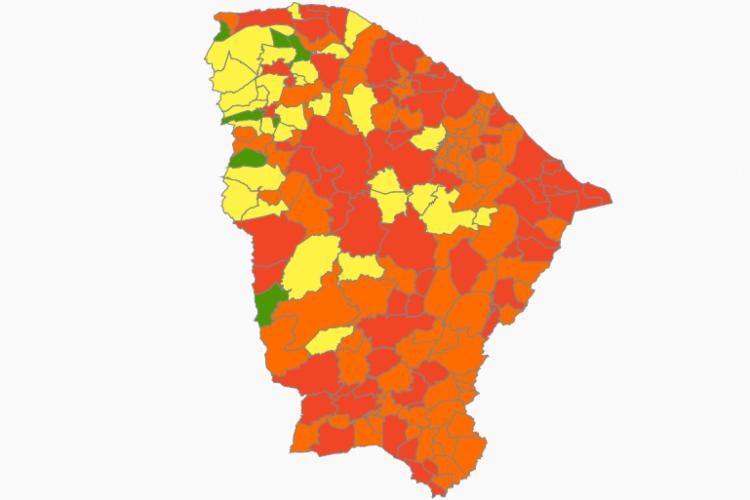 147 municípios cearenses estão em risco alto ou altíssimo para a Covid-19  (Foto: (Reprodução/Plataforma IntegraSUS))