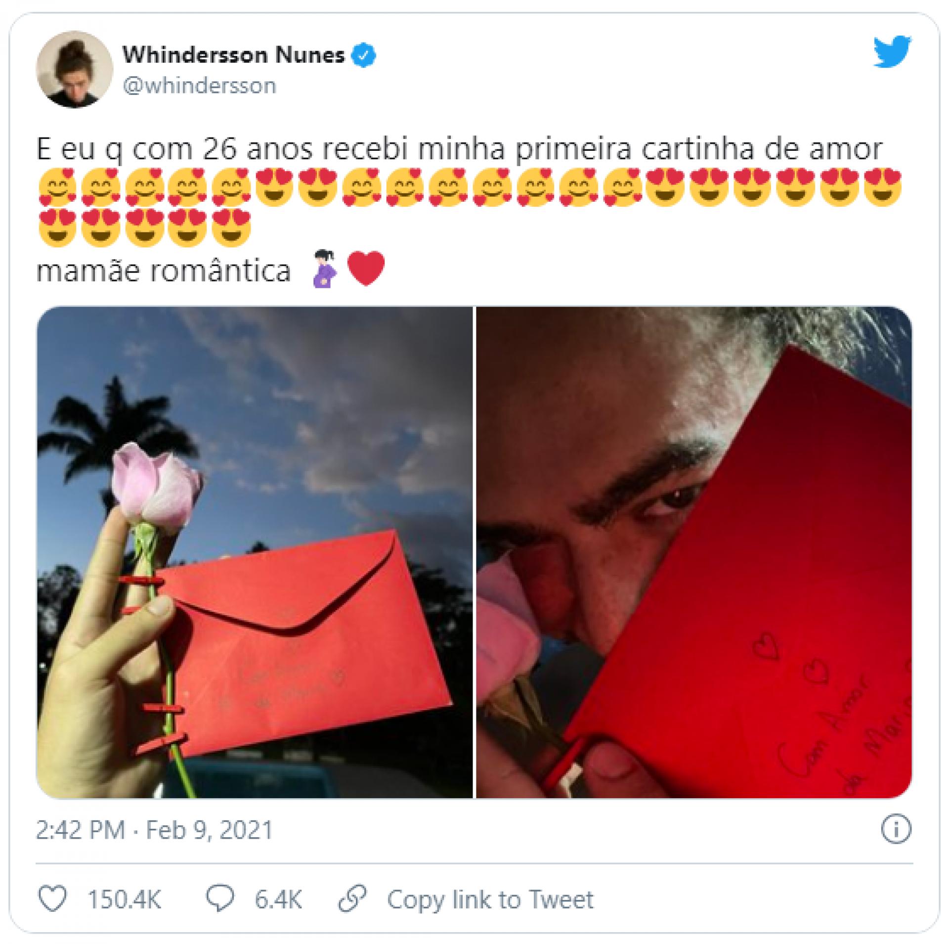 Tweet de Whindersson Nunes sobre carta romântica da namorada