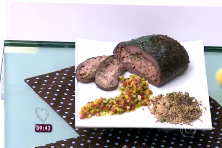 Fraldinha recehada foi receita apresentada hoje (15/02) no Mais Você por Ana Maria Braga  (Foto: Reprodução/TV Globo)