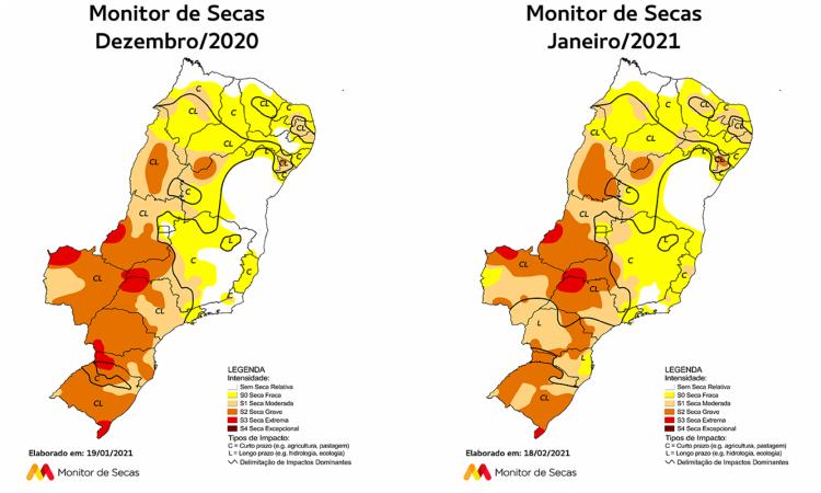 No mapa, o Ceará é o terceiro estado da esquerda à direita na parte superior da imagem.