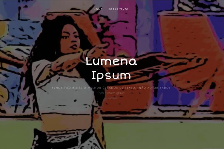 Site Lumena Ipsum promete criar frases que poderiam ter sido ditas pela psicóloga Lumena Aleluia, que foi eliminada do BBB 21 nessa terça-feira, 2 (Foto: Reprodução)