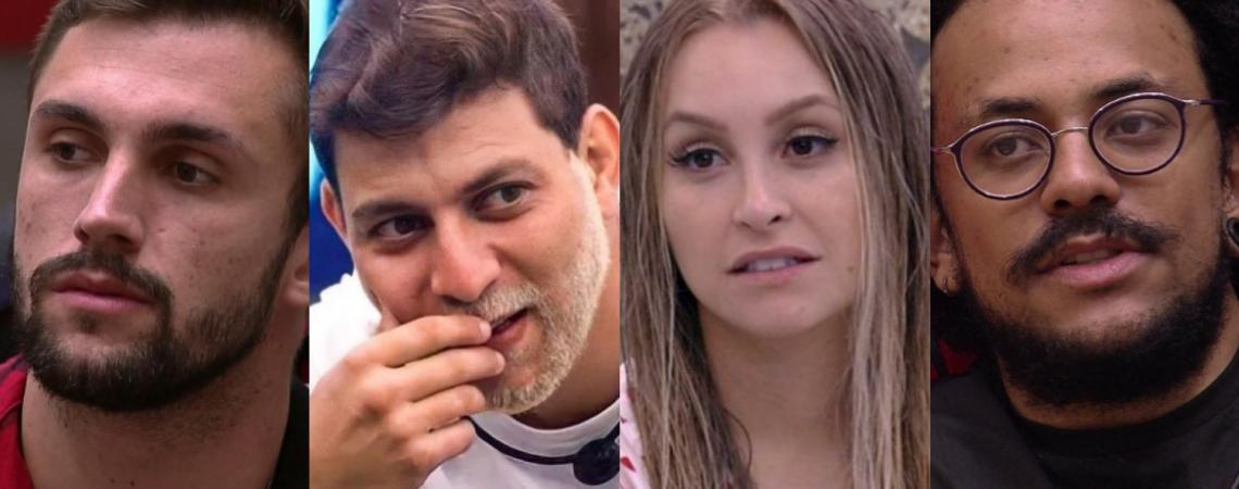 Arthur, Caio, Carla Diaz e João estão no paredão falso do BBB 21. O mais votado na enquete vai para o quarto secreto (Foto: Reprodução/Rede Globo)
