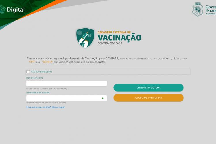 Acesse o site do sistema Saúde Digital. Aparecerá uma tela para entrar com login e senha ou realizar o cadastro. Selecione
