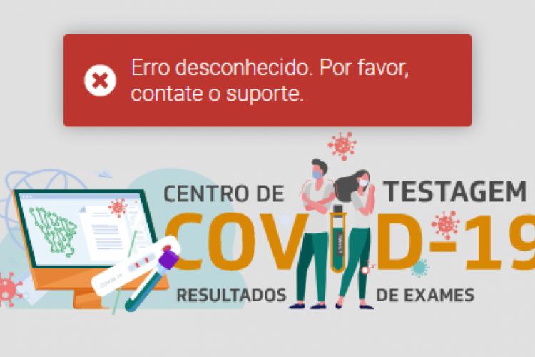 Erro apresentado no site (Foto: Reprodução/Saúde Digital)