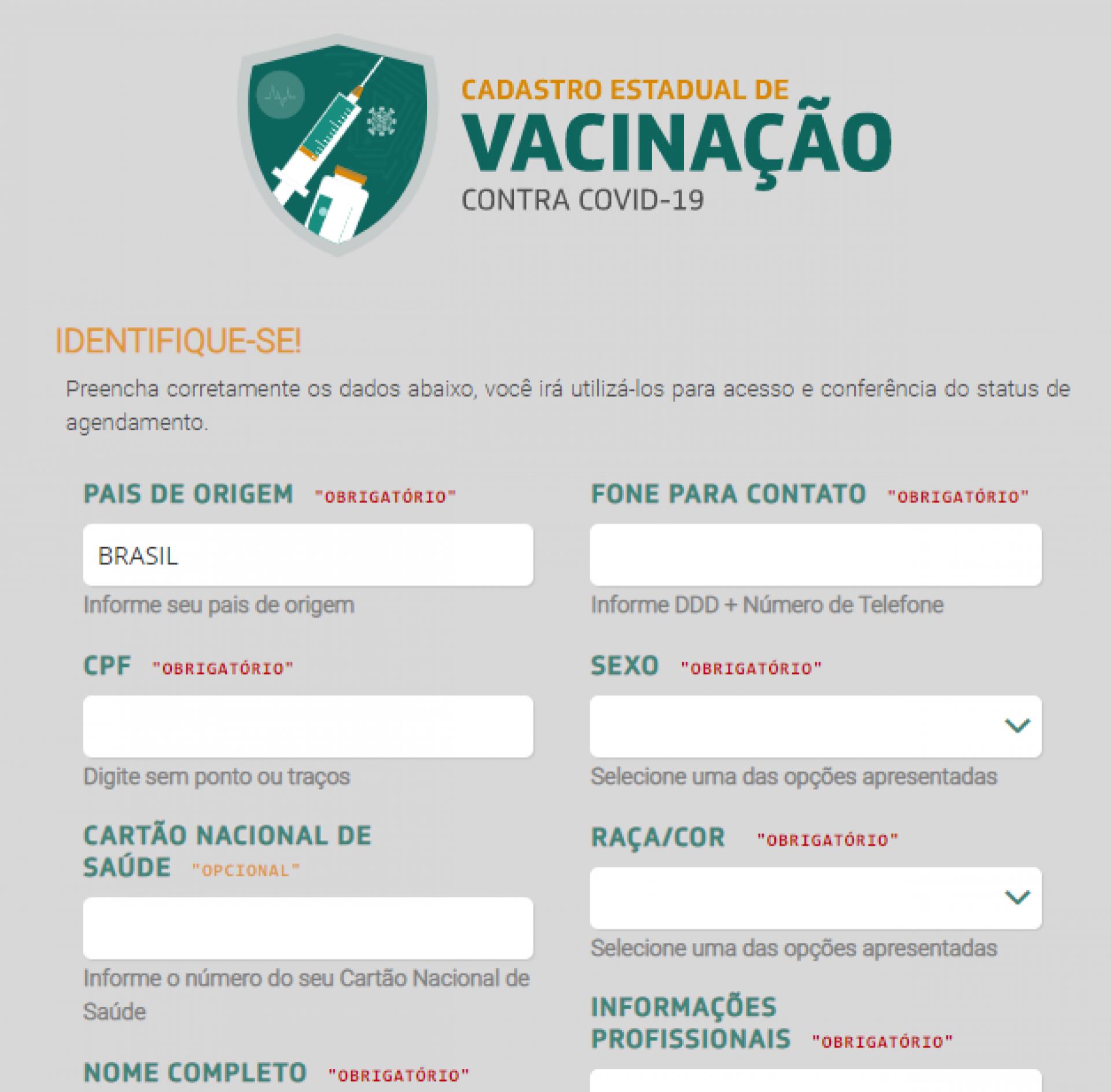 Tela 3 do cadastro para vacinação no Ceará