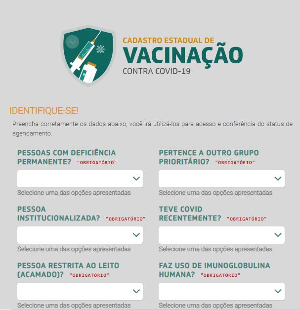 Tela 4 do cadastro para vacinação no Ceará