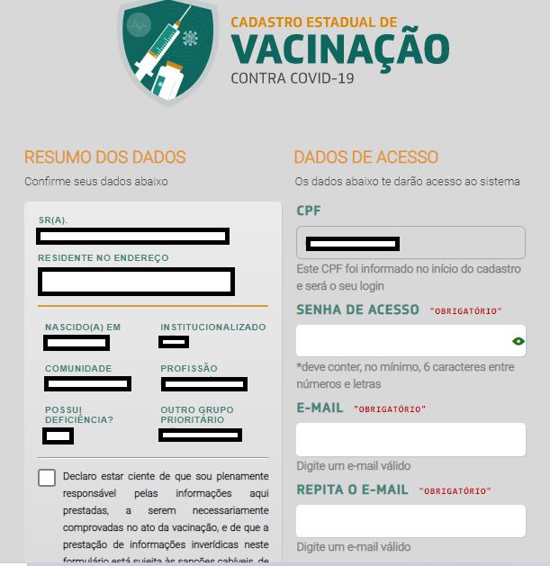 Tela 6  do cadastro para vacinação no Ceará