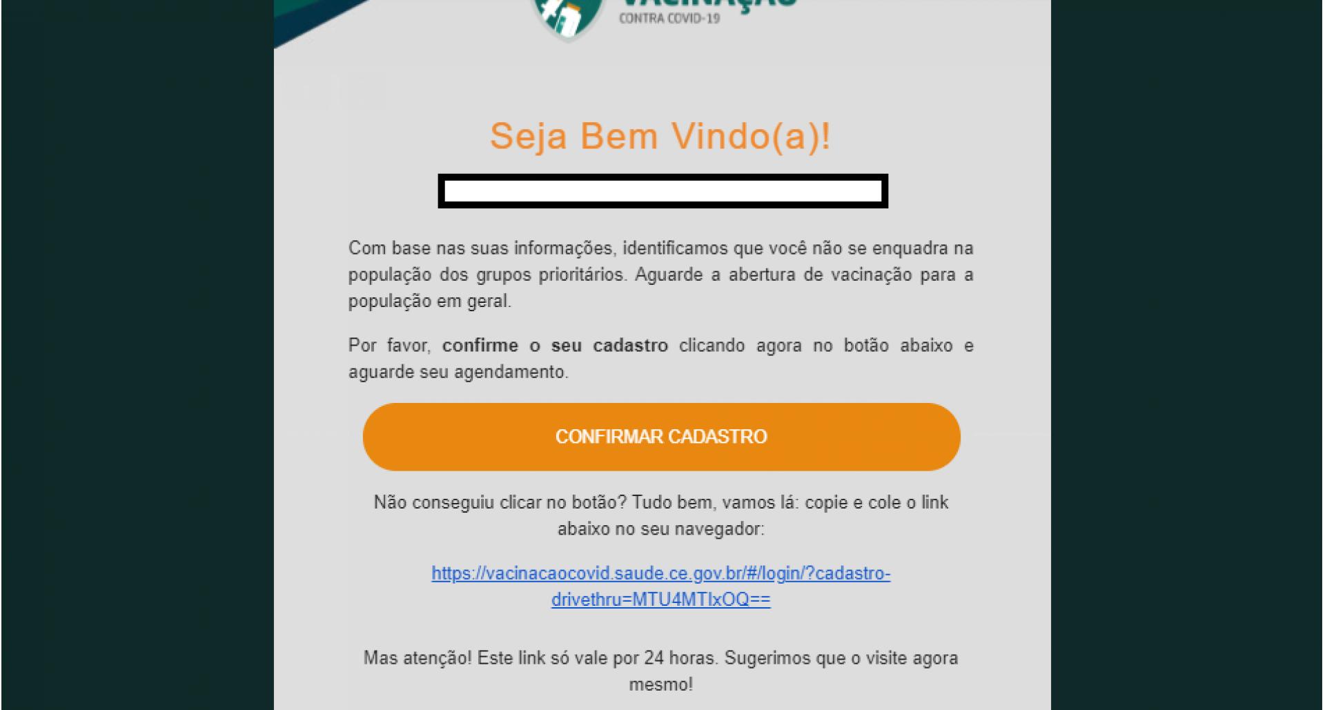Tela 7 do cadastro para vacinação no Ceará