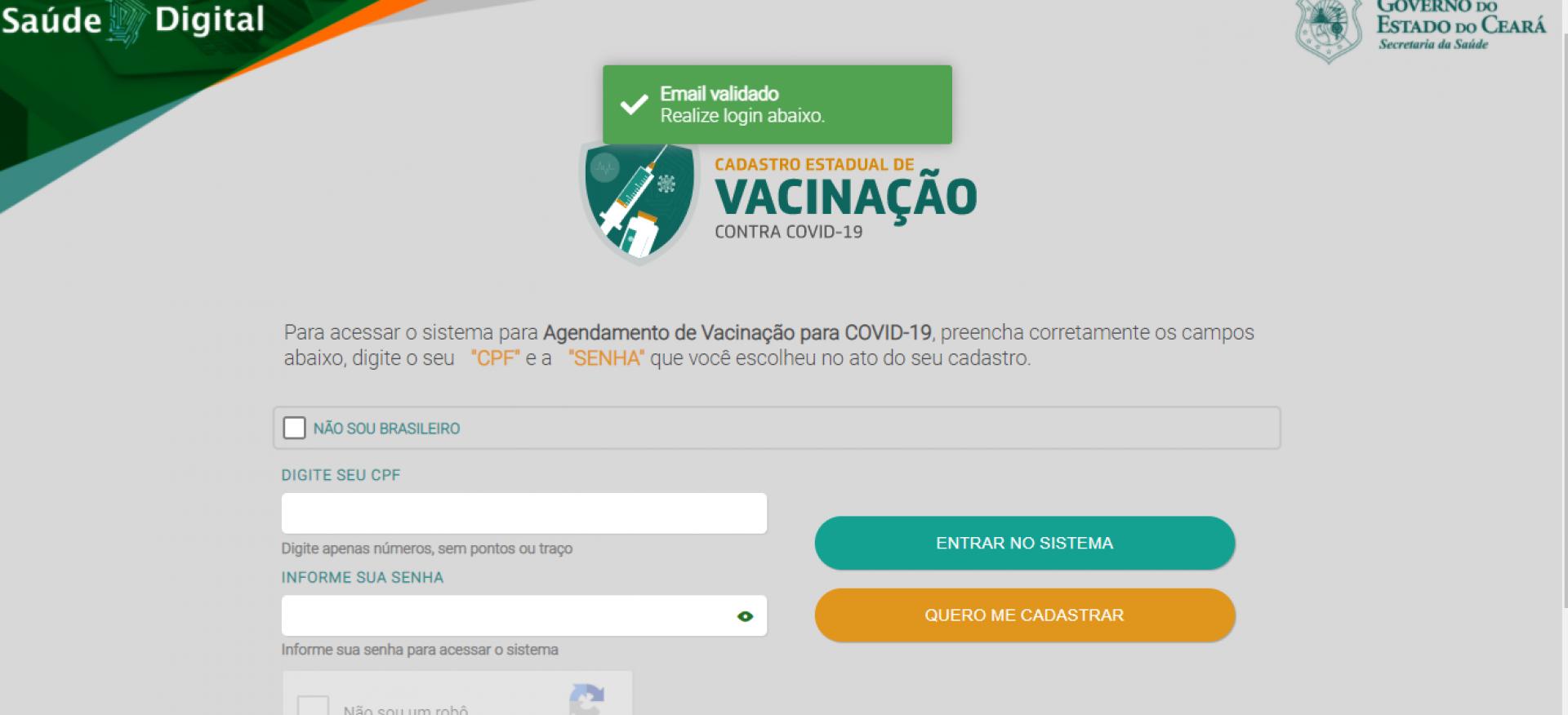 Tela 9 do cadastro para vacinação no Ceará