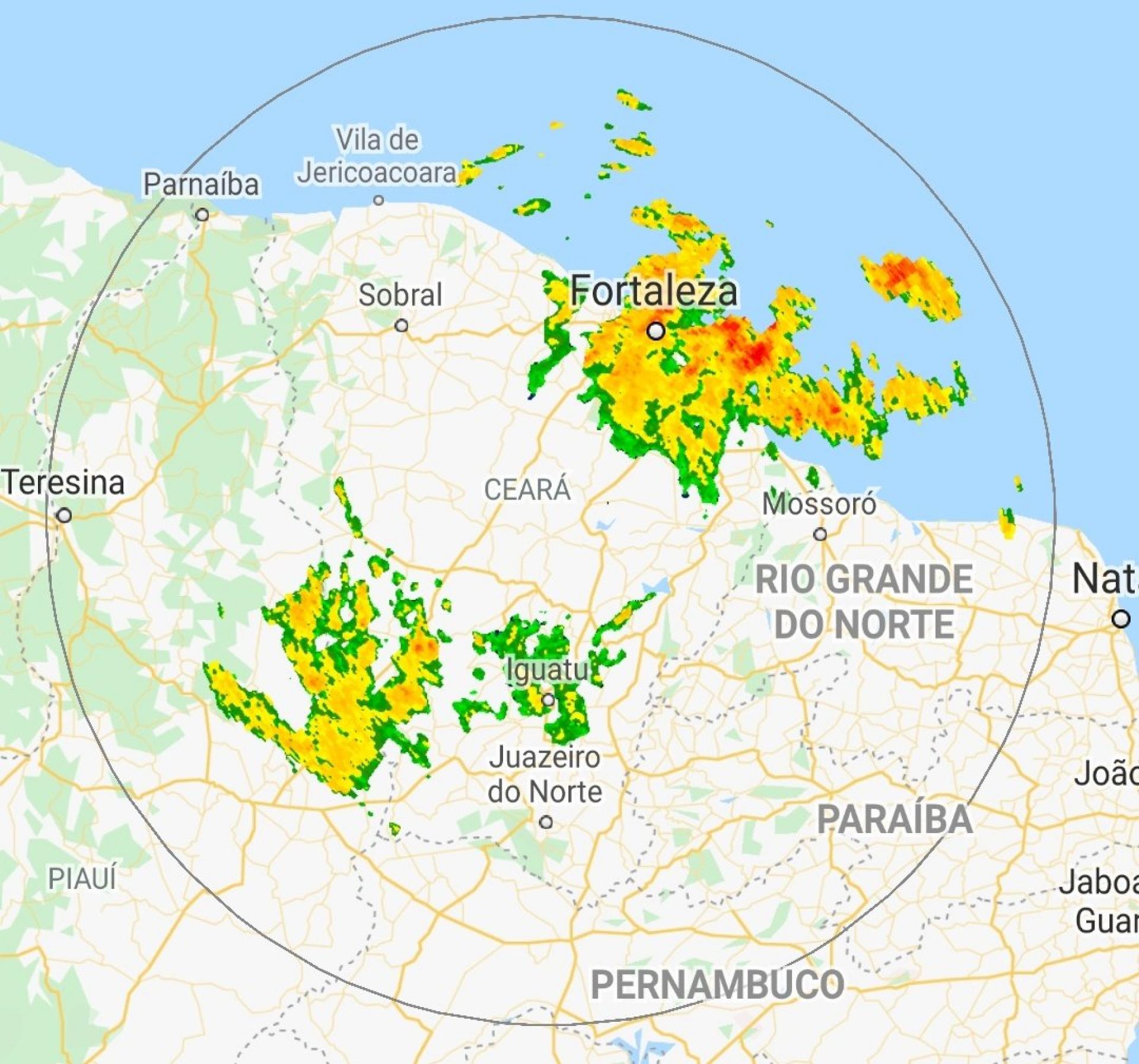 Nuvens sobre o Ceará nesta sexta. 26 de março