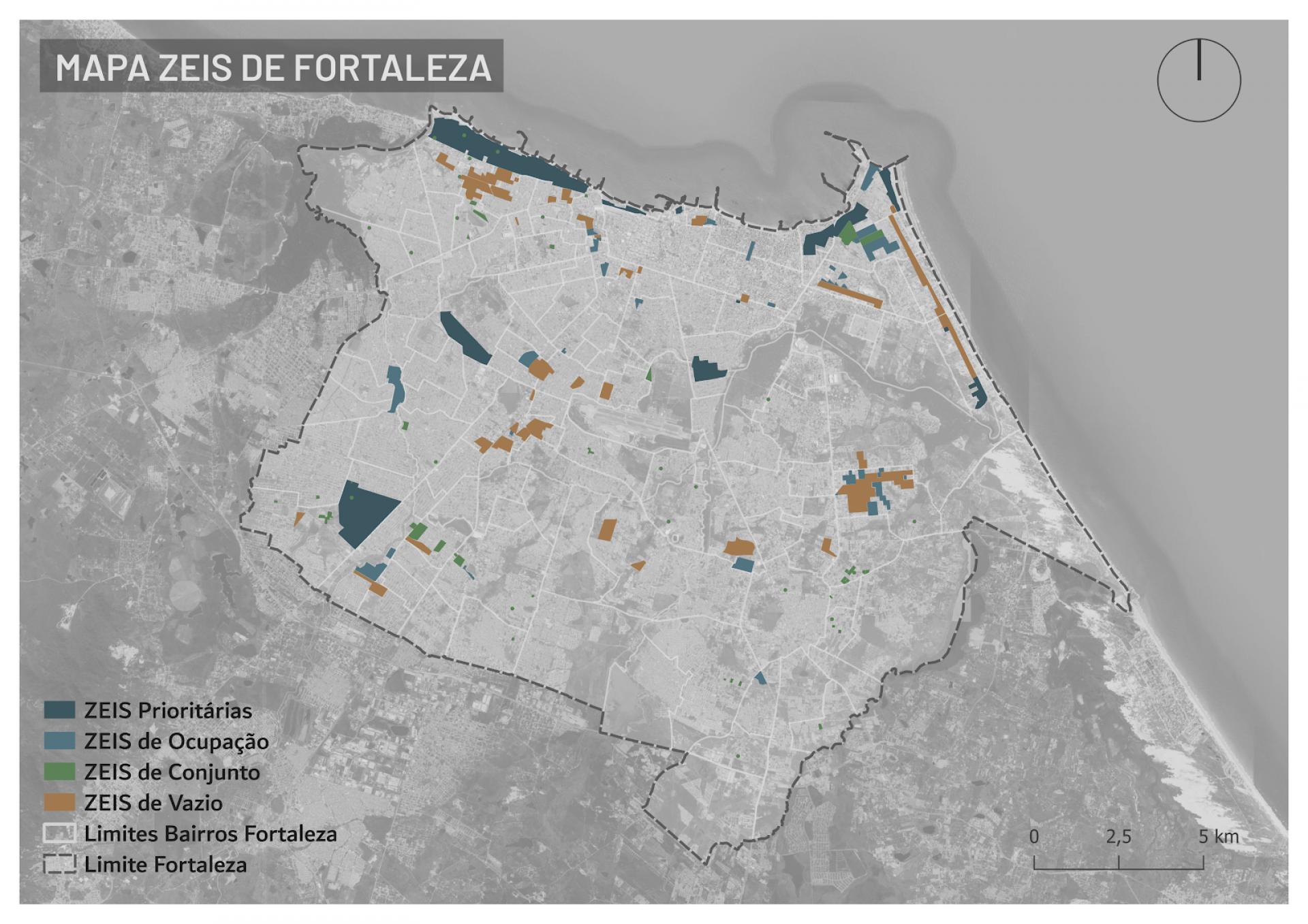 Mapa com demarcações das ZEIS