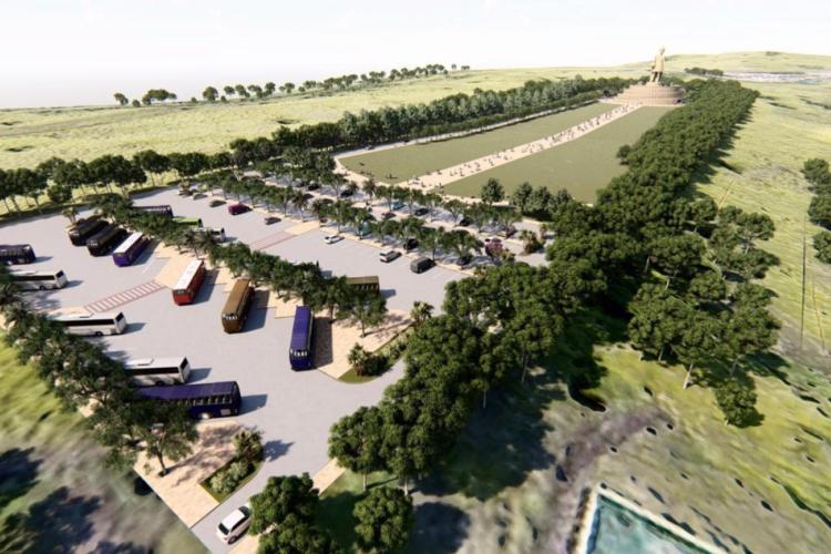 Estacionamento e esplanada do Santuário de Benigna (Foto: Reprodução)