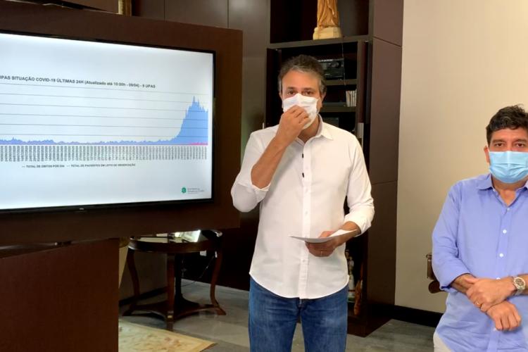 Governador Camilo Santana e secretário Cabeto fizeram anúncio nesta manhã (Foto: REPRODUÇÃO/FACEBOOK)