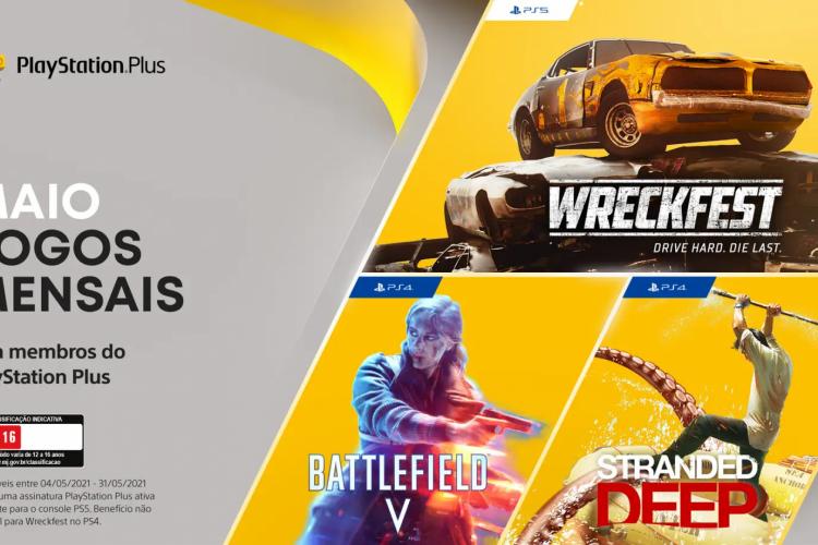 Battlefield V, Stranded Deep e Wreckfest são os jogos gratuitos da PS Plus para maio; eles poderão ser baixados no PS4 e PS5 a partir da próxima terça-feira, 4 (Foto: Divulgação/Sony)