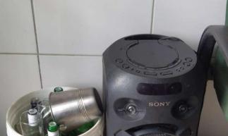 Uma caixa de som também foi apreendida durante a operação da Polícia Militar do Ceará (PMCE)