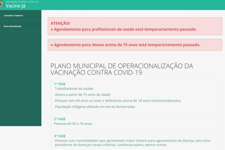 Página inicial do site Vacine Já (Foto: Reprodução/Vacine Já)