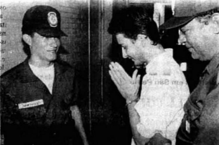 Pareja após ser capturado pela polícia de Goiás, em 1995