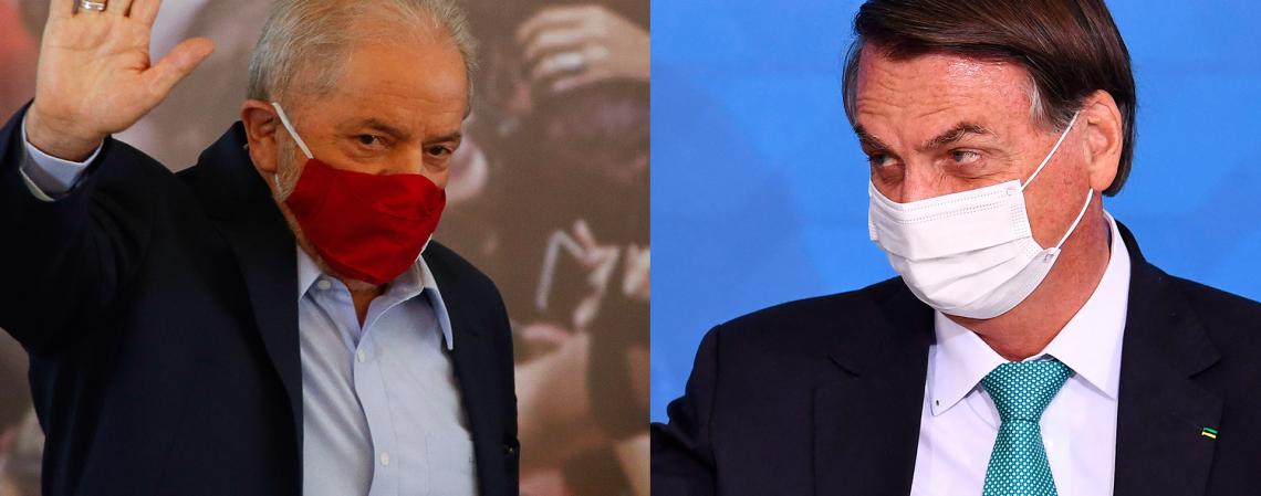 Bolsonaro e Lula são os principais nomes para a disputa presidencial de 2022 (Foto: Miguel Schincariol e Evaristo Sá/AFP)