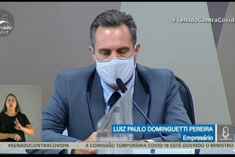 CPI da Covid: Luiz Paulo Dominguetti, da Davati Medical Supply, depõe hoje à Comissão sobre suposto pedido de propina na venda de vacinas ao Ministério da Saúde (Foto: Reprodução/TV Senado/Youtube)