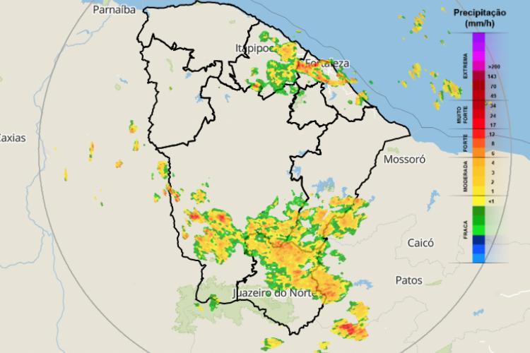 Imagem de satélite indica concentração de nuvens sobre o Ceará (Foto: Reprodução/Funceme)