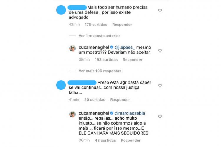 Xuxa respondeu a comentários na publicação