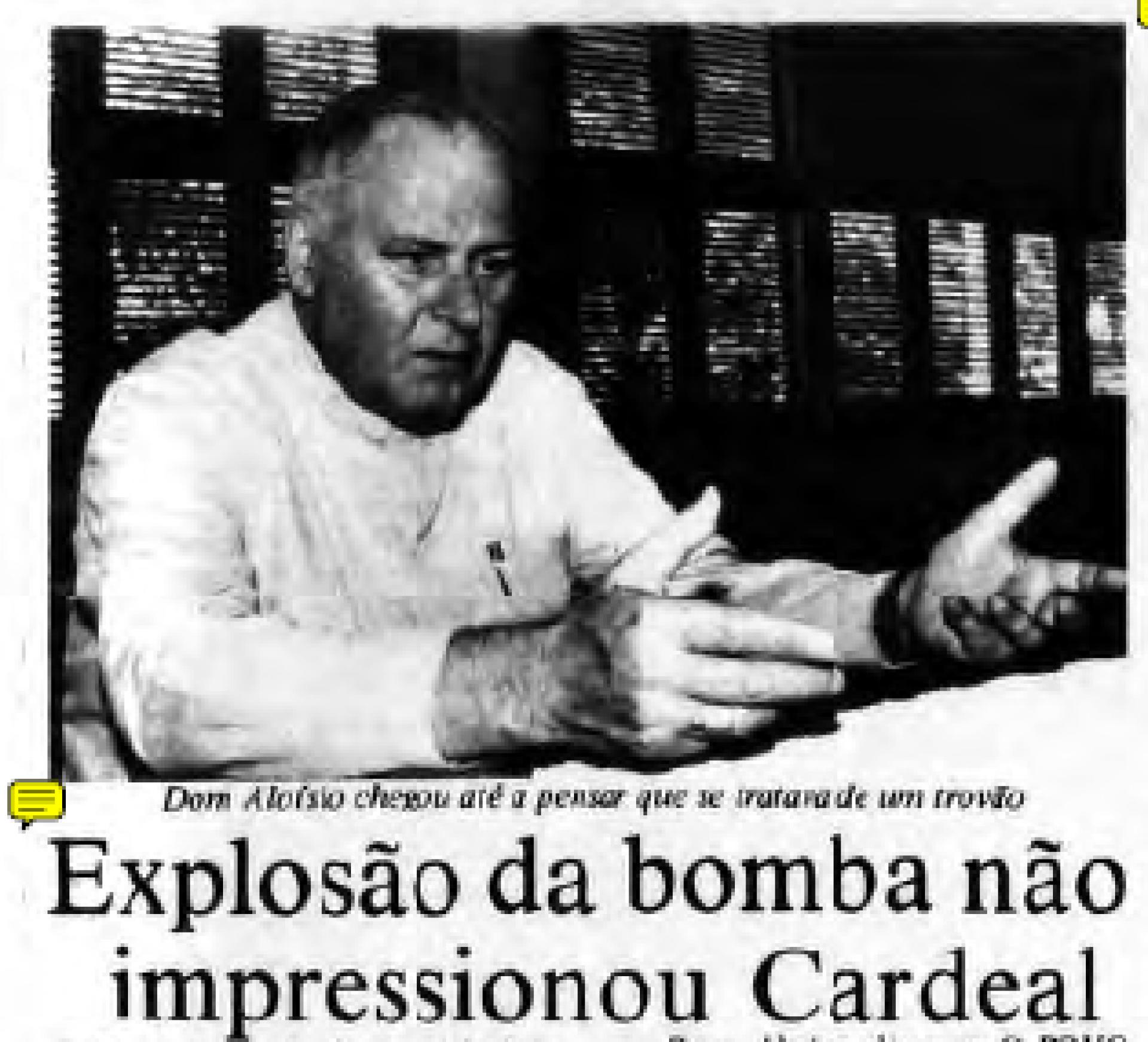 Dom Aloísio no O POVO de 22 de fevereiro de 1987: sem espanto com explosão, que pensou até ser um trovão(Foto: O POVO.DOC)