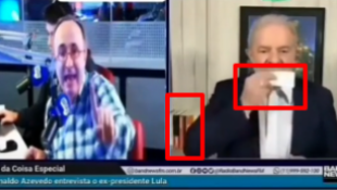 A montagem foi publicada no TikTok de modo a sugerir que Reinaldo Azevedo fez duras críticas ao PT e a Lula na frente do petista.