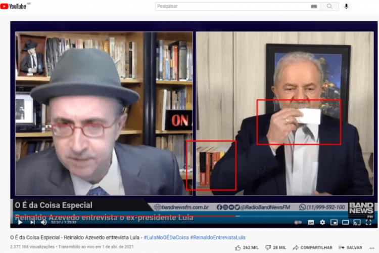 Esta é a imagem do vídeo original publicado no YouTube, quando Lula concedeu entrevista ao programa O É da Coisa, apresentado pelo jornalista Reinaldo Azevedo.