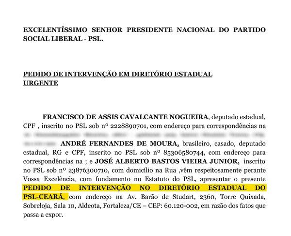 TRECHO de documento que pede intervenção nacional no PSL do Ceará