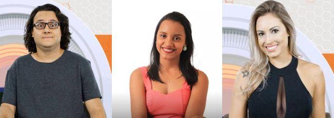 Diego, Gleici e Jéssica estão no paredão triplo do BBB18. (Foto: Reprodução/ Globo)