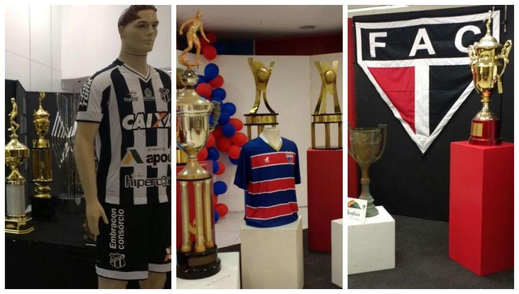 Imagens do acervo exposto de Ceará, Fortaleza e Ferroviário na exposição, com troféus, camisas e bandeiras.  (Foto: )