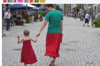 pai e filho, saia, vestido
