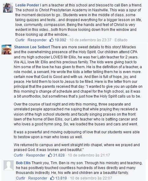 Comentários na postagem de Tim McGraw, agradecendo a divulgação da história e pedindo orações pela vida de Ben Ellis.