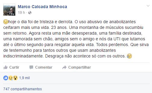 Post com a declaração do médico de Mateus Ferraz