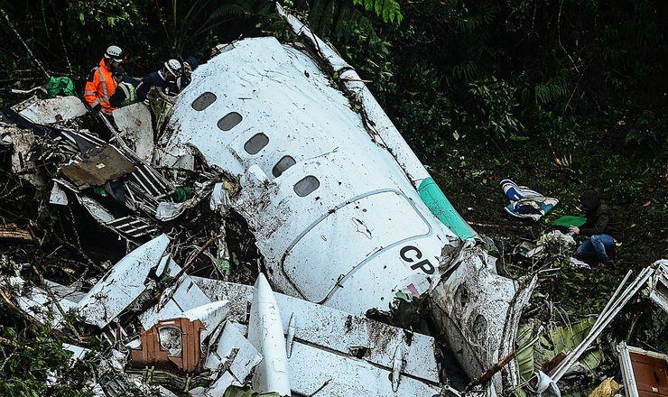 Avião da Chapecoense após desastre na Colômbia