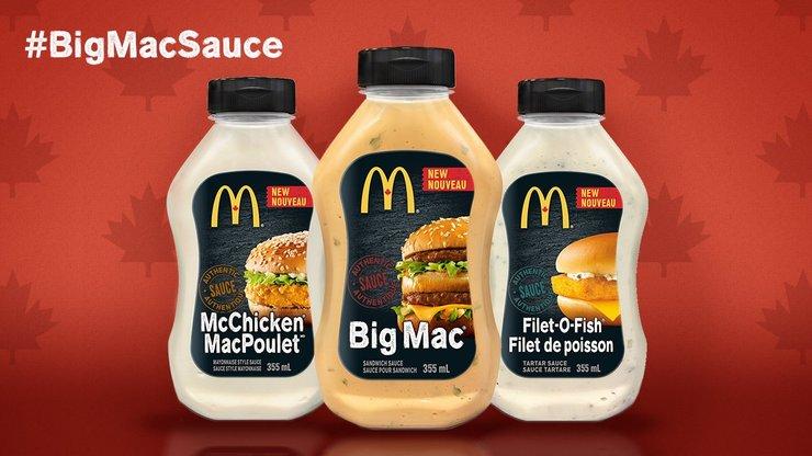 Molhos dos sanduiches Big Mac, Mc Fish e McChicken em anúncio do Twitter