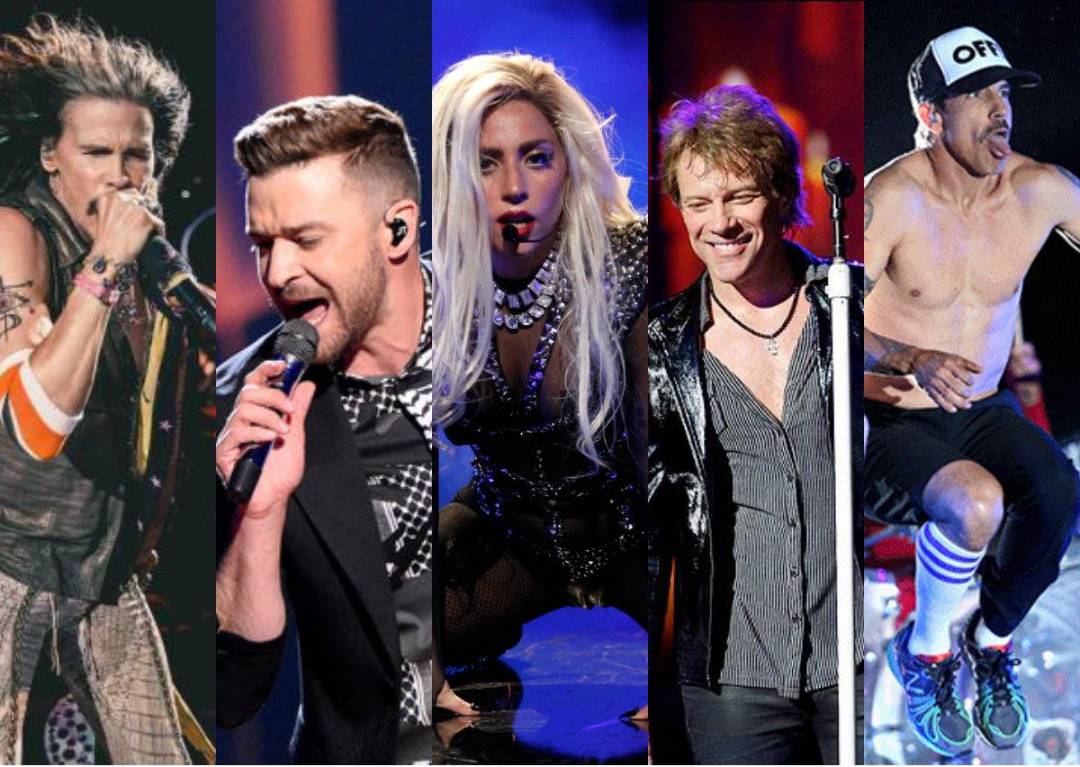 Aerosmith, Justin Timberlake, Lady Gaga, Bon Jovi e Red Hot Chili Pepprs