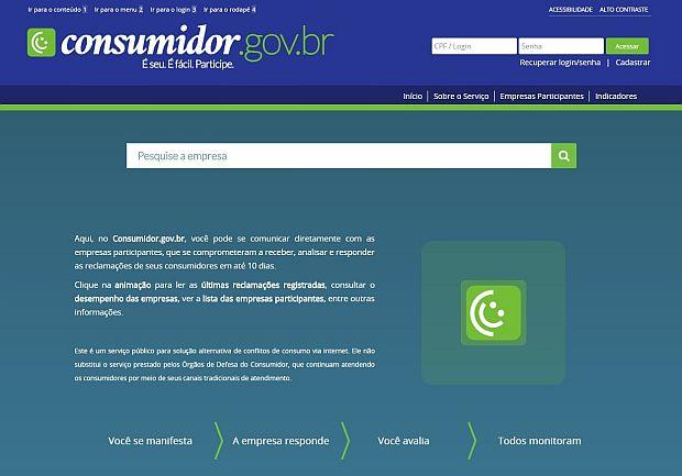 Captura de tela do portal consumidor.gov.br