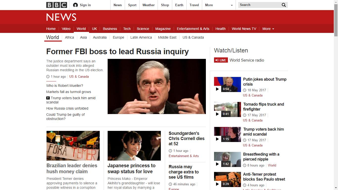 Capa da seção Mundo do portal de notícias britânico BBC com a reportagem sobre a última denúncia contra Temer