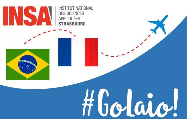 Arte da campanha Go Laio mostra um avião cruzando as bandeiras do Brasil e da França