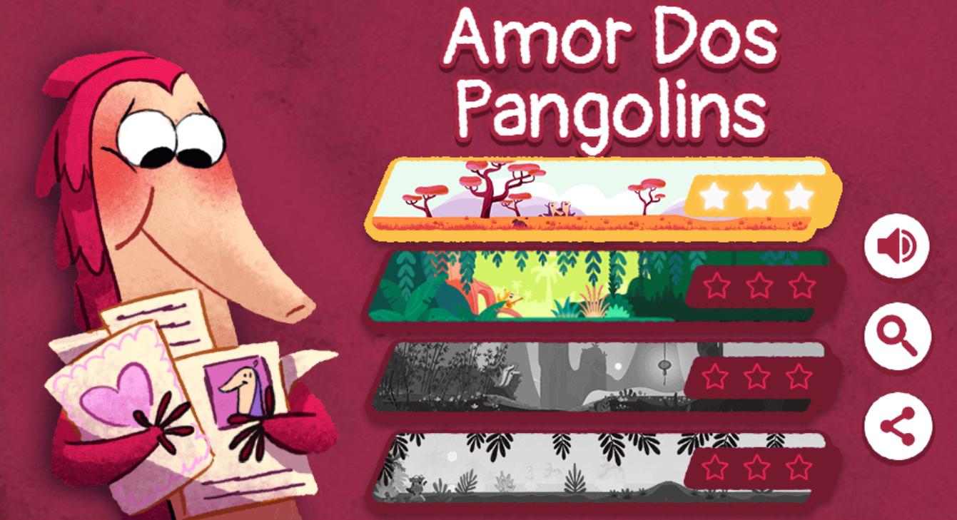 Página de seleção de fases no Jogo Amor dos Pangolins