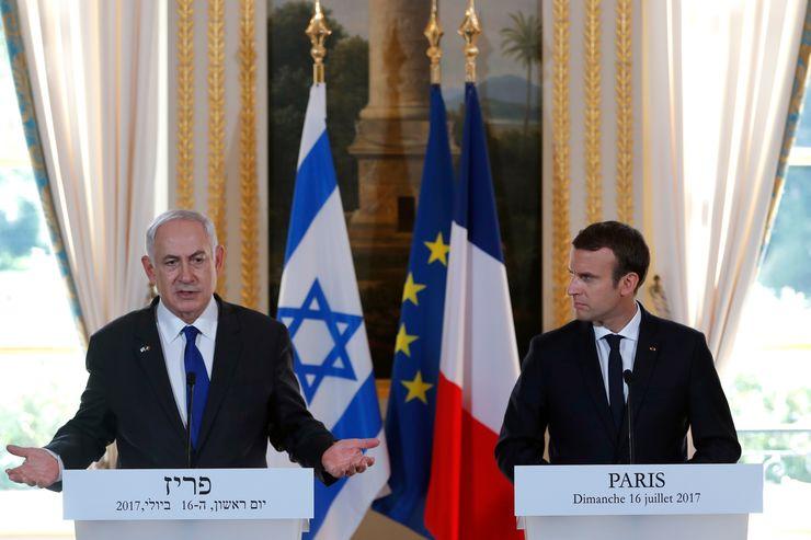 Presidente francês Emmanuel Macron e primeiro-ministro de Israel, Benjamin Netanyahu